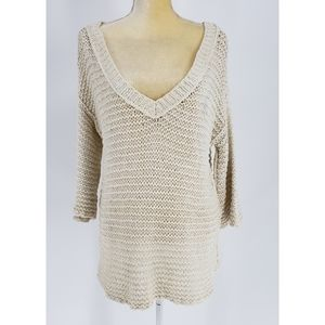 Free People   Open Knit V-neck Oversized Tunic Top